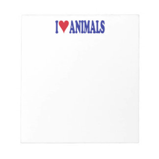 I Love Animals Note Pad