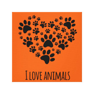 I love animals paws heart illustration canvas print