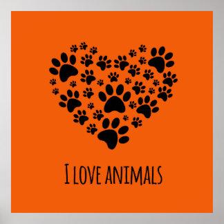 I love animals paws heart illustration poster