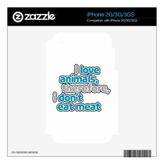 I Love Animals, Therefore I Don't Eat Them Decal For iPhone 3