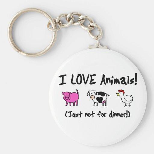 I Love Animals Vegetarian Keychains