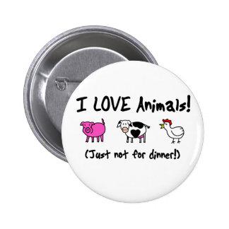 I Love Animals Vegetarian Pinback Button