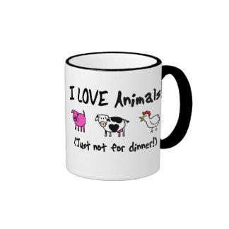 I Love Animals Vegetarian Ringer Coffee Mug