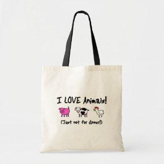 I Love Animals Vegetarian Tote Bag