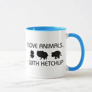 I Love Animals With Ketchup Mug