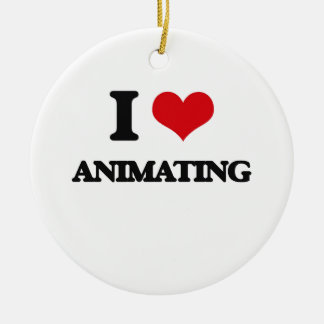 I Love Animating Double-Sided Ceramic Round Christmas Ornament