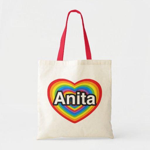 I love Anita. I love you Anita. Heart Tote Bags