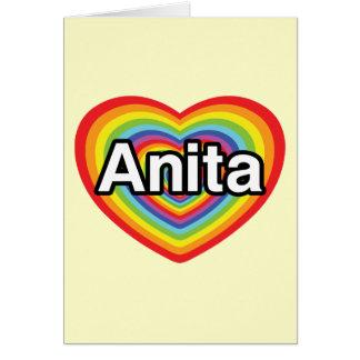 I love Anita, rainbow heart Card