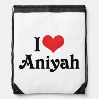 I Love Aniyah Drawstring Bag