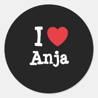 I love Anja heart T-Shirt Classic Round Sticker