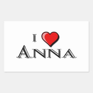 I Love Anna Rectangular Sticker