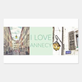 """""""I Love Annecy"""" Photo Banner Rectangular Sticker"""