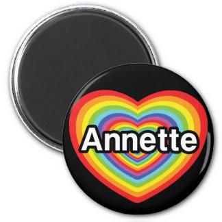 I love Annette, rainbow heart 2 Inch Round Magnet