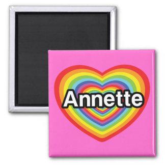 I love Annette, rainbow heart 2 Inch Square Magnet