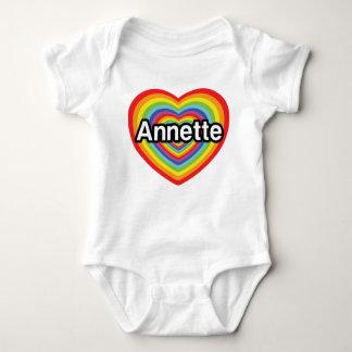 I love Annette, rainbow heart Baby Bodysuit