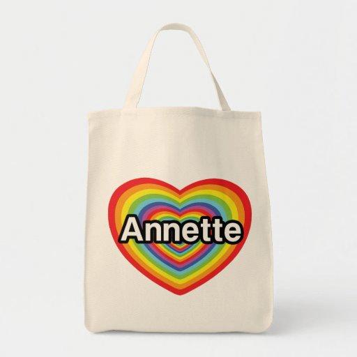 I love Annette, rainbow heart Bags