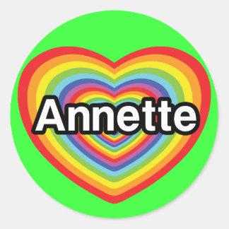 I love Annette, rainbow heart Classic Round Sticker