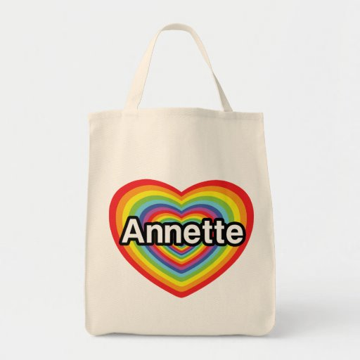 I love Annette, rainbow heart Grocery Tote Bag