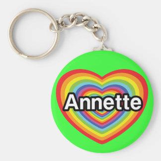 I love Annette rainbow heart Key Chains