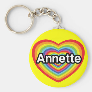 I love Annette rainbow heart Key Chain