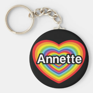 I love Annette rainbow heart Keychains