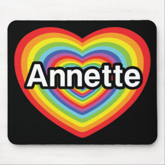 I love Annette, rainbow heart Mouse Pad