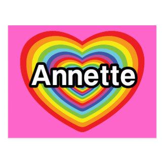 I love Annette, rainbow heart Postcard