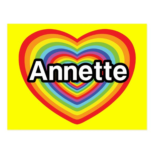I love Annette, rainbow heart Postcard