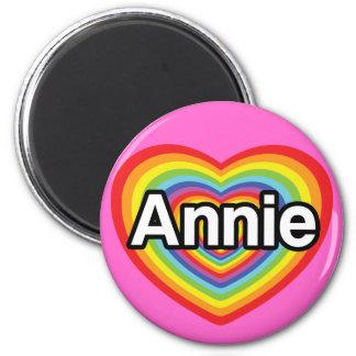 I love Annie, rainbow heart 2 Inch Round Magnet