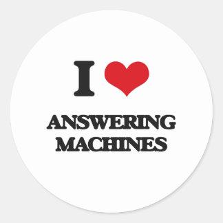 I Love Answering Machines Round Stickers