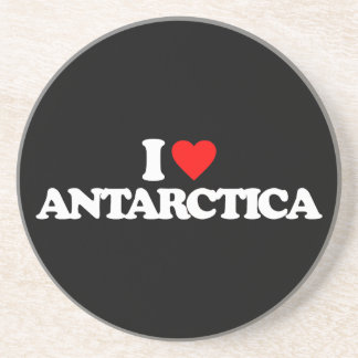 I LOVE ANTARCTICA BEVERAGE COASTER