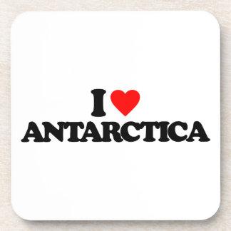 I LOVE ANTARCTICA BEVERAGE COASTERS
