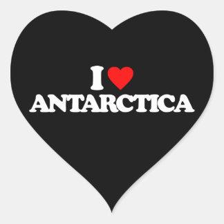 I LOVE ANTARCTICA HEART STICKERS
