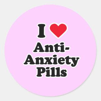 I love anti-anxiety pills round stickers