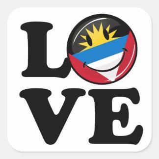 I Love Antigua and Barbuda Smiling Flag Square Sticker