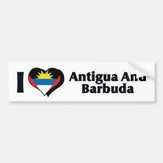 I Love Antigua & Barbuda Flag Bumper Sticker