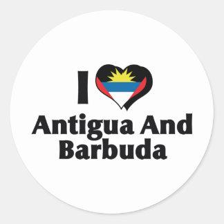 I Love Antigua & Barbuda Flag Classic Round Sticker