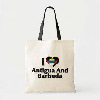 I Love Antigua & Barbuda Flag Tote Bag