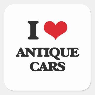 I Love Antique Cars Square Sticker