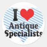 I Love Antique Specialists Classic Round Sticker