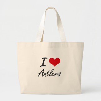 I Love Antlers Artistic Design Jumbo Tote Bag