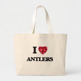 I Love Antlers Jumbo Tote Bag