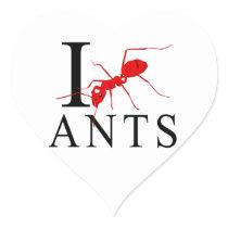 I Love Ants Heart Sticker
