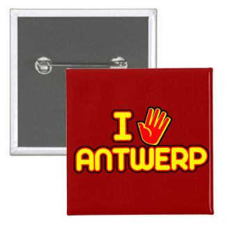 I Love Antwerp (hand) 2 Inch Square Button