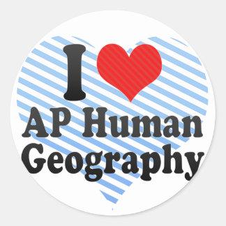 I Love AP Human Geography Classic Round Sticker