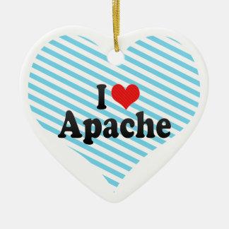 I Love Apache Double-Sided Heart Ceramic Christmas Ornament