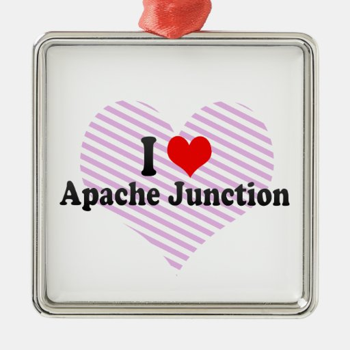 I Love Apache Junction, United States Square Metal Christmas Ornament