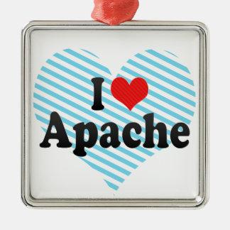 I Love Apache Square Metal Christmas Ornament