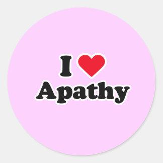 I love apathy round sticker