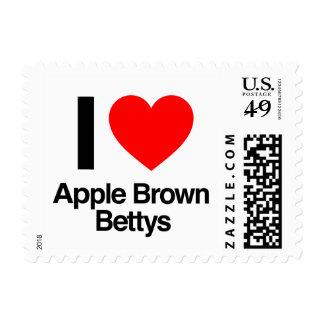 i love apple brown bettys postage stamp